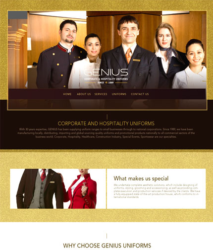 Uniform company web design
